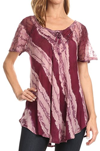 Sakkas 17789 - Valencia Tie Dye Sheer Cap Sleeve Embellished Drawstring Scoop Neck Top - 7-Wine - OSP