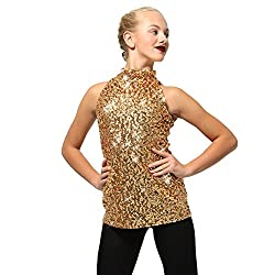 Gold Sequin Dance Costume Tank Top For Kids