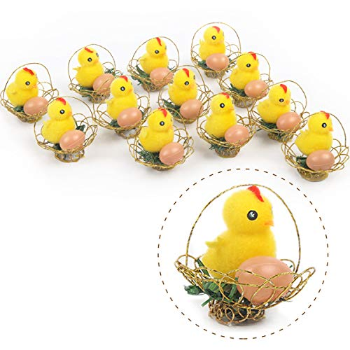 - Arelux Yellow Easter Chicks Pack of 12| Chicken Decor with Basket |Baby Chickens Easter Decorations for Kids |Adorable Easter Bonnet Egg Decoration(12Pack Basket)