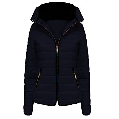 795ed2cf H&F Girls Kids High Quality Zara Inspired Quilted Bubble Puffer Padded Long  Sleeve Zip Up Faux Fur Inside Collar Navy Coat Jacket Size 1-14 Years: ...