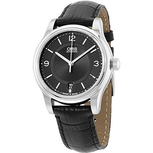 Oris-Classic-Date-Black-Dial-Black-Leather-Strap-Mens-Watch-73375784034LS