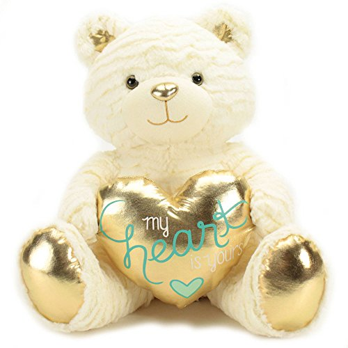 Plush Ivory Bear with Gold Heart Large (Where To Buy Big Teddy Bears)