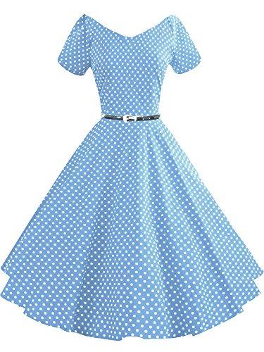 iLover Women 1950s V-Neck Vintage Rockabilly Swing Evening Party Dress