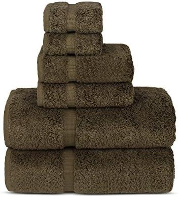 Chakir Turkish Linens Luxury Spa and Hotel Quality Premium Turkish Cotton 6-Piece Towel Set (2 x Bath Towels, 2 x Hand Towels, 2 x Washcloths, Cocoa)