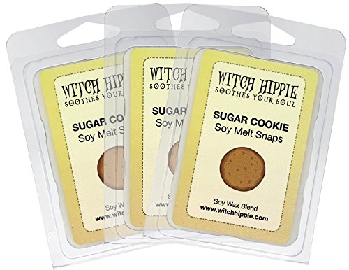 Witch Hippie Sugar Cookie Scented Wickless Candle Tarts,3 Pack, 18 Natural Soy Wax Cubes, A Irresistible Fragrance Of Fresh Baked Sugar Cookies, A Strong Fragrance