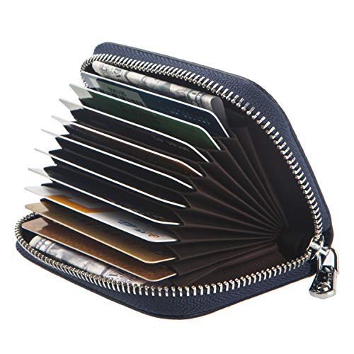 Women Wallet Genuine Leather Credit Card Holder with RFID Blocking Small Accordion Leather Credit Card Wallet with -