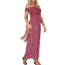 Women Sexy Off Shoulder Floral Split Maxi Dress Plus Size Casual Ankle Length Beach Dresses Red L