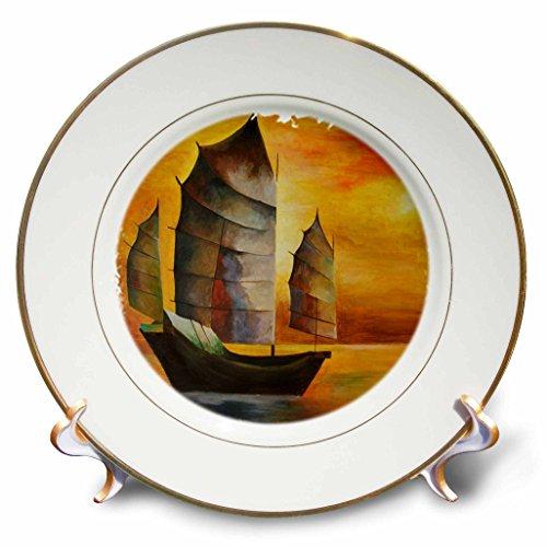 3dRose cp_63141_1 Chinese Junk Sail Boat, Acrylic Painting, Sails, Decorative, Seascape, Cubism, Sailors, Nautical Porcelain Plate, 8-Inch