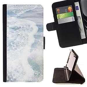 For Sony Xperia Z5 Compact Z5 Mini (Not for Normal Z5) Case , Las olas del mar resaca del verano Sol Blanco- la tarjeta de Crédito Slots PU Funda de cuero Monedero caso cubierta de piel