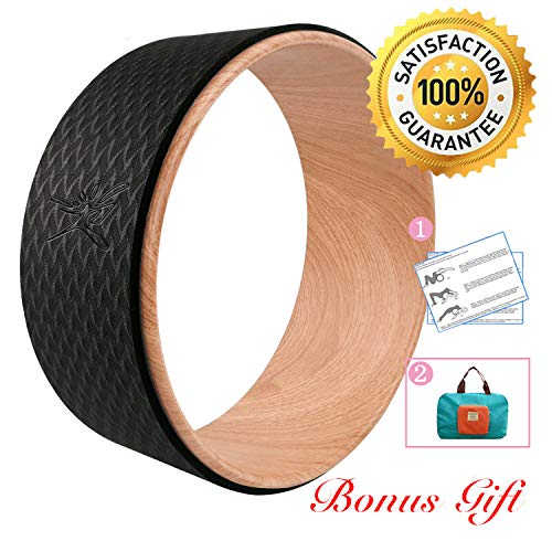 (Risefit Dharma Yoga Prop Wheel for Yoga Poses, Wood)