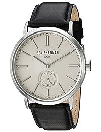 Ben Sherman Men's 'Big Portobello Social' Quartz Stainless Steel and Leather Automatic Watch, Color:Black (Model: WB032SA)