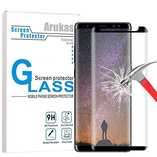 Cheap Screen Protectors Galaxy Note 8 Screen Protector Glass, Arukas 3D Curved Edge Ultra Clear..