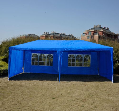 Outsunny 10′ x 20′ Gazebo Canopy Party Tent w/ 4 Removable Side Walls – Blue, Outdoor Stuffs