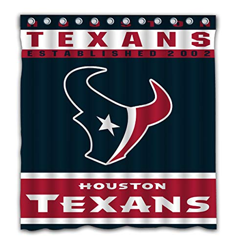 Potteroy Houston Texans Team Design Shower Curtain Waterproof Polyester Fabric 66x72 Inches