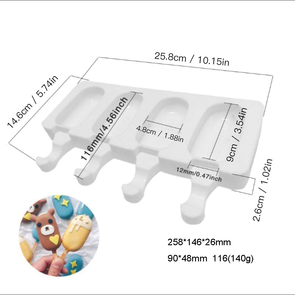 JoyFan Silicone Ice Cream Mould Pop Ice Lolly Mold Maker Frozen Dessert Popsicle Tray Home Kitchen Tools Pan 10pcs Wooden Sticks