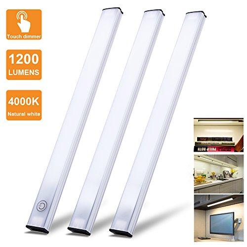 LED Under Cabinet Lighting Touch Control, Dimmable Under Counter Light Strips for Kitchen Closet, Shelf, 3pc Light Bars Kit, 12W 1200 Lumen, 4000K Nature White