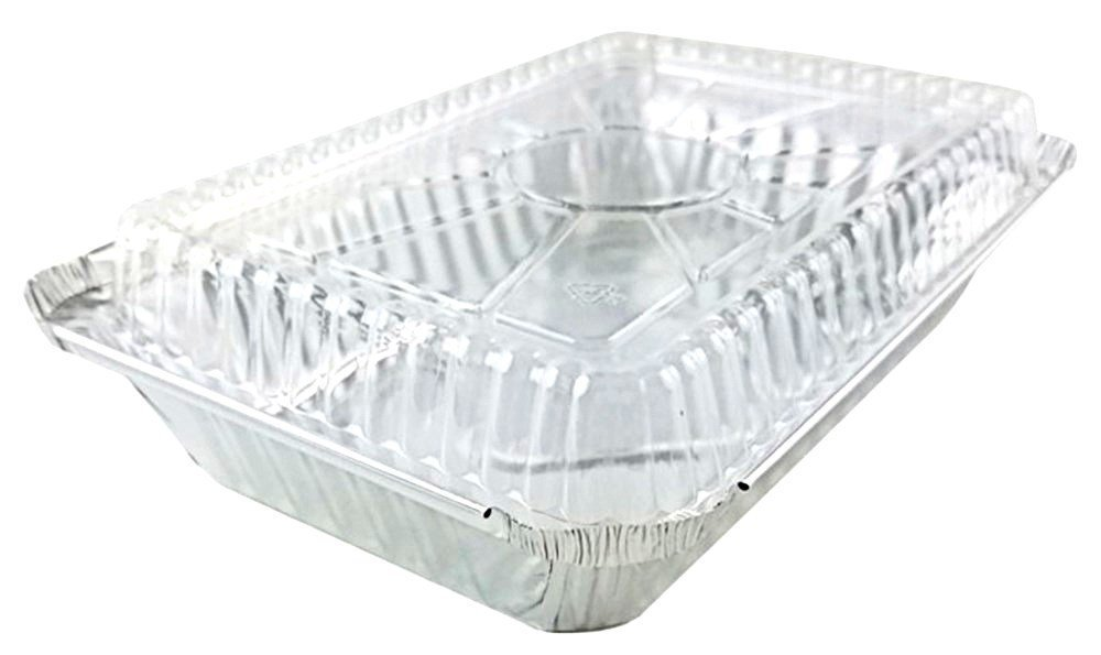 Pactogo 2 lb. Oblong Aluminum Foil Take-Out Pan with Clear Dome Lid Disposable Containers 8.44'' x 5.94'' x 1.75'' (Pack of 500 Sets)