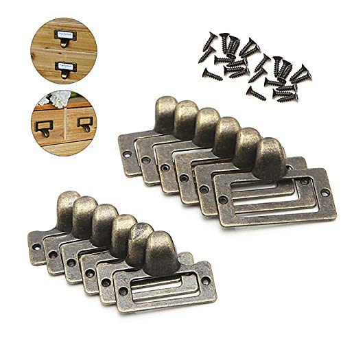 (6PCS/SET Handle File Name Card Cabinet Label Holder Antique Brass Drawer Pull Frame - (Size: S))