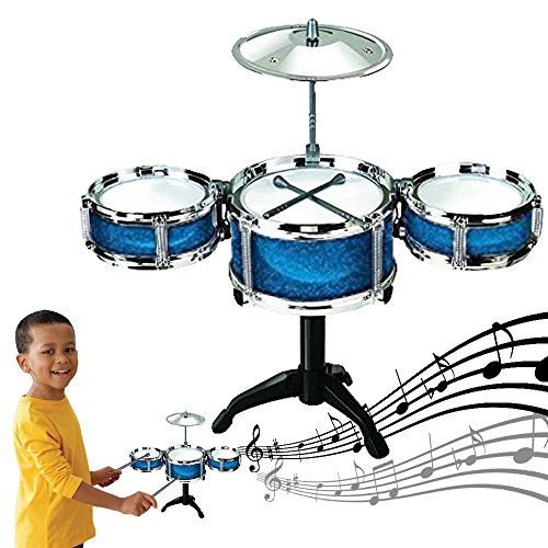 Dazzling Toys Blue Desktop Drum Set Musical Instrument Toy Playset Rock on Drums - Configuration Top Finish