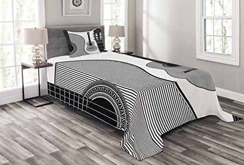 Black Folk Guitar Set - Ambesonne Guitar Bedspread Set Twin Size, Monochrome Design Striped Acoustic Classical Instruments Folk Country Music Concert, 2 Piece Decorative Quilted Coverlet with 1 Pillow Sham, Black White