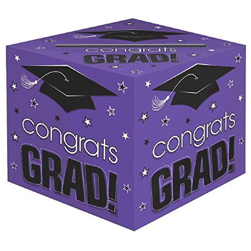 "amscan School Colors Graduation Party Congrats Grad! Card Box Holder, Purple, Black and White, Paper, 12"" x 12"" x 12"""