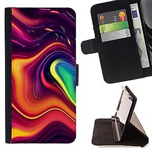 Momo Phone Case / Flip Funda de Cuero Case Cover - Modernas formas de arte que fluye colorido - Samsung Galaxy A5 ( A5000 ) 2014 Version