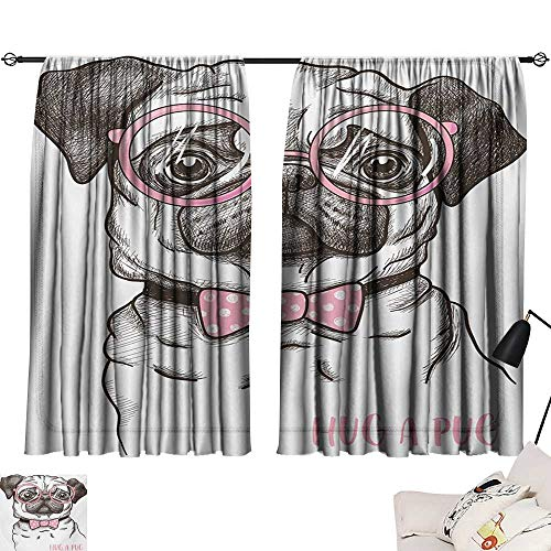 Pug Light Luxury high-end Curtains Cute Pet Dog with Pink Bow Tie Oversized Glasses Hand Drawn Domesticated Darkening and Thermal Insulating