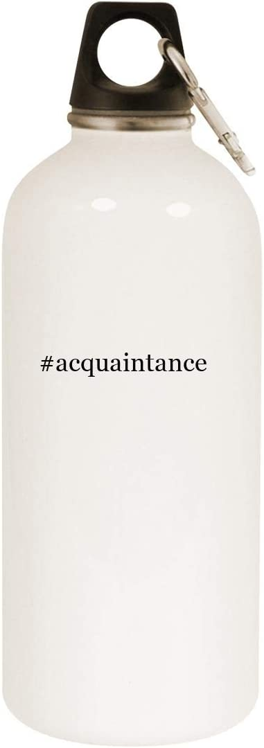 #acquaintance - 20oz Hashtag Stainless Steel White Water Bottle with Carabiner, White