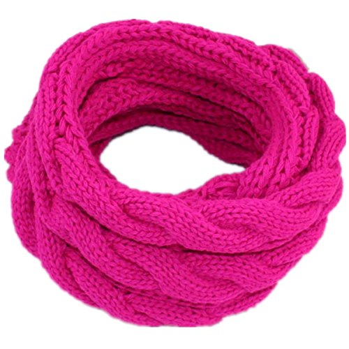 American Trend Chunky Thick Knitted Fashion Eternity Infinity Loop Scarf Hot Pink