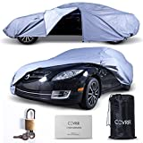 Easy-Access Universal Waterproof Car Cover. All Weather Vehicle Storage Protection (Indoor Dust - Outdoor Rain - Winter Snow - Sun). With Breathable Automobile Tarp - Cable - Lock Kit - Tie Down Clamps.