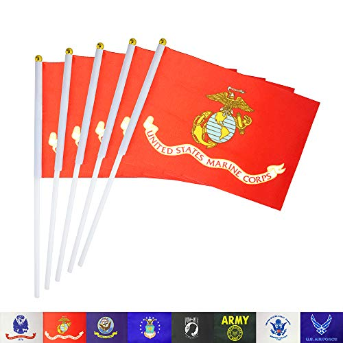 (TSMD US Marine Corps Stick Flag 50 Pack Small Mini Handheld United States Military Polyester Flags On Stick,Decorations Supplies for Army Party Events Celebration)