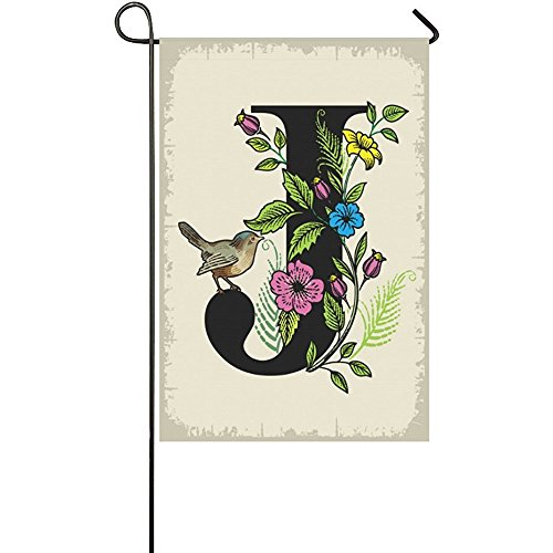 Starclevel Monogram J with Cute Bird Polyester Garden Flag H