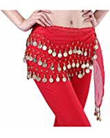 Red Belly Dance Skirt Hip Scarf