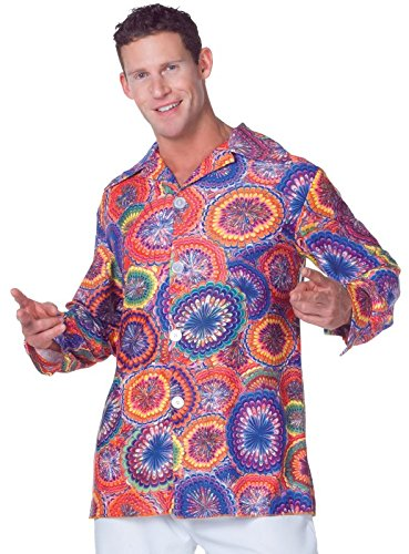 Underwraps Men's 70's Psychedelic Shirt, Multi, One Size - Last Minute Halloween Costumes Ideas For Adults