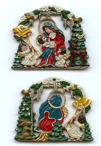 Mary and Baby Jesus German Pewter Christmas Ornament ()