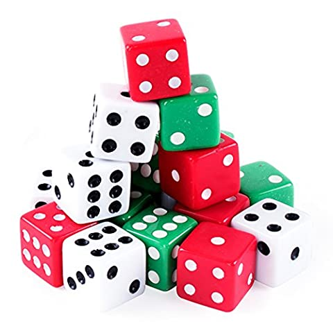 Assorted Colorful Dice in White, Red, Green for Board Games, Activity, Casino Theme, Party Favors, Toy Gifts (18 - Played Monopoly