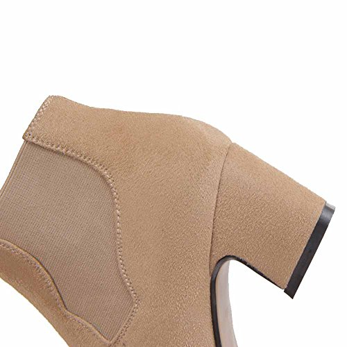 Round High Toe Closed Frosted Ankle Nude Heels Solid Kitten AmoonyFashion Womens Boots qfSxf1