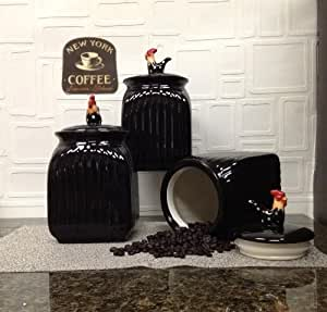 black kitchen storage sets rooster black w dots 3 canister set 4722