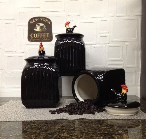 ROOSTER, BLACK W/DOTS, 3 Piece Canister Set, 83729 BY ACK