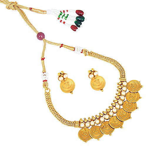 bodha 22K Traditional Indian, Islamic Arabic Chand Tara Gold Coin Necklace Set for Women (SJ_2700) ()