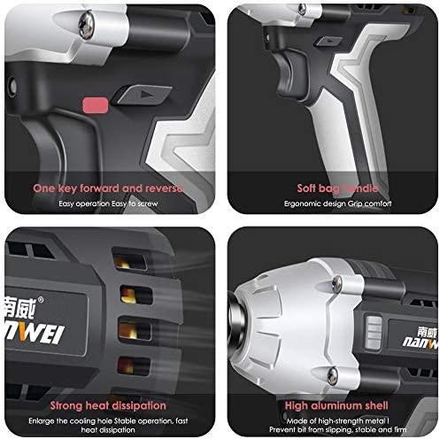 Kacsoo Cordless Impact Wrench 21V Brushless Motor Max Torqu 450Nm 6.0 AH Lithium Battery 1/2