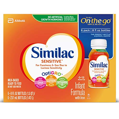 - Similac Sensitive Infant Formula with Iron, For Fussiness and Gas, Baby Formula, Ready-to-Feed, 8 Fl Oz, Pack of 6