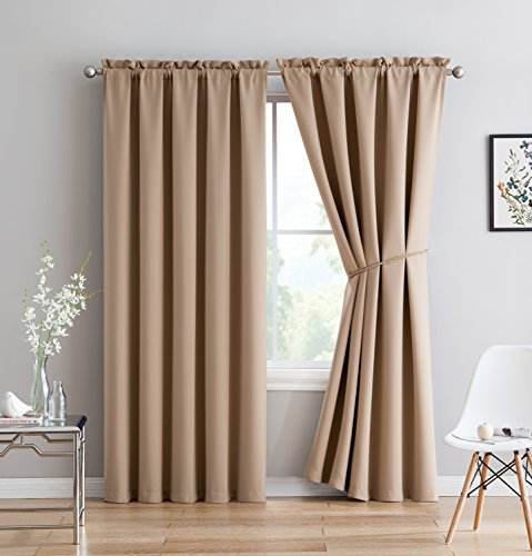 Make Rod Pocket Drapes (Erica - Premium Rod Pocket Blackout Curtains With Tiebacks - 2 Panels - Total 108 Inch Wide (54 Each Panel) - 108 inch long - Solid Thermal Insulated Draperies (54
