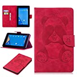 Fire 7 (2017) Case,Gift_Source [Card Slots] Cute Panda Embossed Case Magnetic Closure PU Leather Wallet Pocket Flip Stand Cover for Amazon Fire 7 (7th Generation, 2017 Release Only) 7'' Tablet [Red]