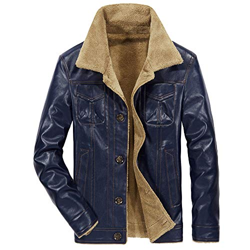 (Leather Jacket Fur, Simayixx Men Vintage Winter Warm Fleece Coats Plus Size Slim Button Overcoats Blouse Tops)