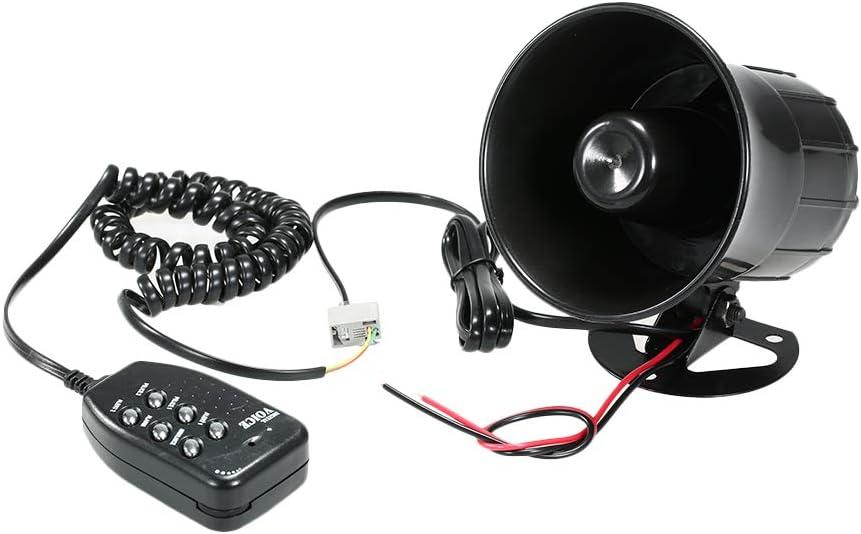 Kecheer Coche Motocicleta Meg/áfono 6 Tone Loud Speaker Tradicional Hooter Timbre Alarma de incendio Wailing Ambulance Blaring Polic/ía Sirena
