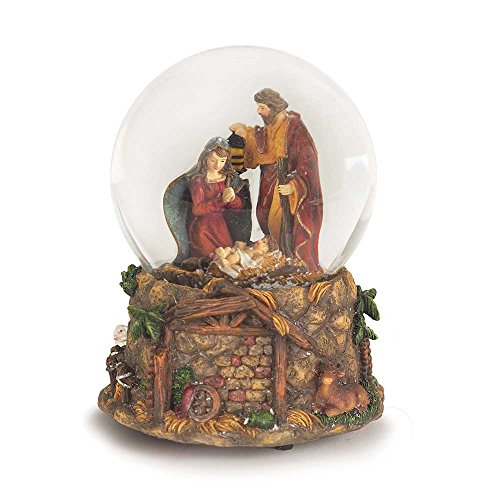 Holy Family With Creche Scene Resin Stone 5.5 Inch Christmas Nativity Musical Water Globe Nativity Scene Snowglobe
