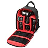ABC Camera Backpack Bag Waterproof DSLR Case for Canon for Nikon for Sony (Red)