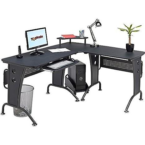 Escritorio Unicornio esquinero para ordenador con repisa elevada y carrito para CPU: Amazon.es: Hogar