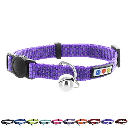 Pawtitas Pet Reflective Cat Collar with Safety Buckle and Bell Purple